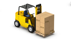 Endless Forklifts with Boxes vertigo effect Stock Footage