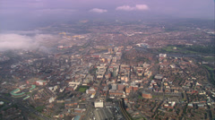 Wide shot of Belfast City with fluffy evocative clouds Stock Footage