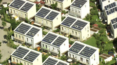 Houses with solar power panels in Germany - stock footage