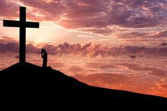 christian background - worshiping - stock photo