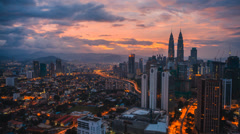 Timelapse of cityscape during colorful sunrise - 1080p Stock Footage