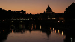 The Tiber & St Peters at sunset (sirens & horns sound) Stock Footage