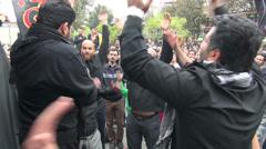 Tehran, crowd commemorates Imam Hossein, Ashura, Muharram - stock footage