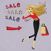 Stock Illustration of fashion sale ad, shopping girl with bags