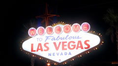 Las Vegas Sign, crash pan at night Stock Footage
