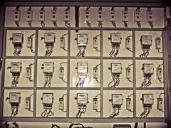 Stock Photo of electric meters, india