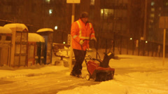 Snow removal in the City Stock Footage