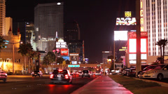 Traffic in Las Vegas at night (1) Stock Footage