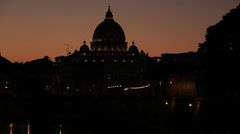 St Peters dome at sunset (sirens sound) - stock footage