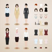 Office women set Stock Illustration