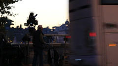 St Peters dome and a film crew - stock footage