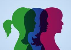 Girlfriends silhouettes Stock Illustration