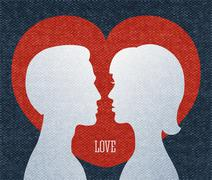 Love couple silhouettes Stock Illustration