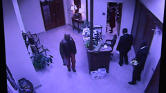 security camera view of church entrance - stock footage