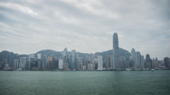 Time lapse of the Hong Kong island skyline from Kowloon Stock Footage