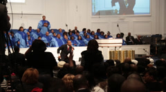 African/american pastor preaches to joyful congregation Stock Footage