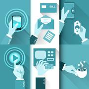 business hands in action - stock illustration