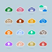 Set of cloud technology icons, contrast color Stock Illustration
