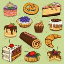 Stock Illustration of pies and flour products for bakery, pastry