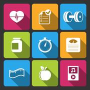 Healthy lifestyle iconset for fitness app Stock Illustration