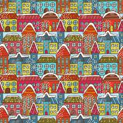 Winter houses seamless pattern Stock Illustration