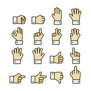 Stock Illustration of hand gestures icons set, contrast color