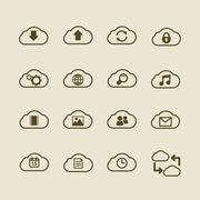 Generic cloud computing iconset, contour flat Stock Illustration