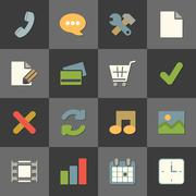 Online shopping website iconset, color flat Stock Illustration