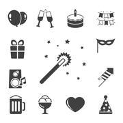 Celebration iconset, contrast flat Stock Illustration