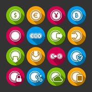 Collection of coins for finance or money app Stock Illustration