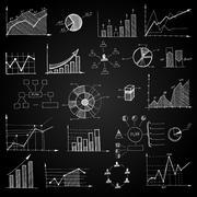 chalk board doodle web charts - stock illustration