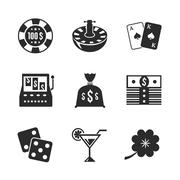 Casino iconset for design, contrast flat Stock Illustration