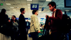 Lines in the terminal at the airport Stock Footage