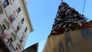 Stock Video Footage of Modern Christmas tree, reflections of glitzy shop