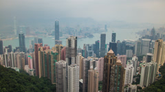 Time lapse of Central and Victoria Harbour from Victoria Peak, Hong Kong - stock footage