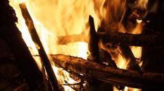 Stock Video Footage of bonfire closeup