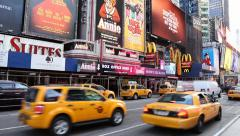 Time Square New York Taxis Stock Footage
