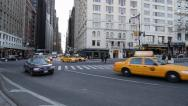 Stock Video Footage of New York City Intersection, Yellow Taxis