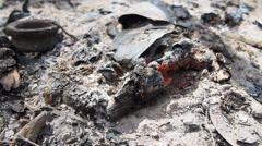 Bonfire remains Stock Footage
