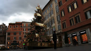 Stock Video Footage of Late evening Rome Christmas tree (dolly shot)