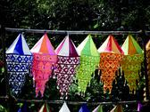 Stock Photo of lanterns, akashkandil hanged for selling on roadside before diwali festival,