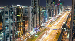 high traffic night light road in dubai - stock footage
