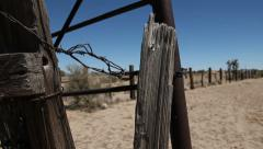 Abandoned Ranch Ghost Town Fence Crane and Pan Stock Footage