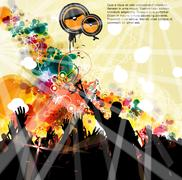 Crowd at the music concert. Vector Stock Illustration