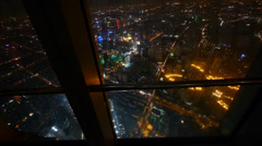 aerial view of Shanghai night-scene from huanqiu sightseeing hall. - stock footage
