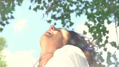 Young Woman Outdoor. Enjoy Nature Stock Footage