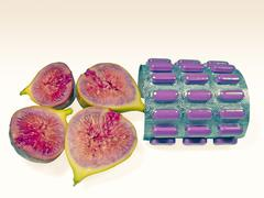 Stock Photo of chopped fig fruit, with pack of pills, tablets medicine, concept