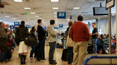 Lines at terminal gates in airport Stock Footage