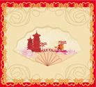 Stock Illustration of decorative opened fan with patterns of chinese landscape