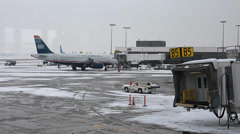 Airport after a big winter storm Stock Footage